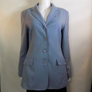 Talbots Long 4 Button 100% Wool Light Blue Blazer